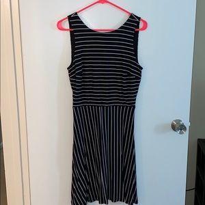 Black and white striped LOFT dress